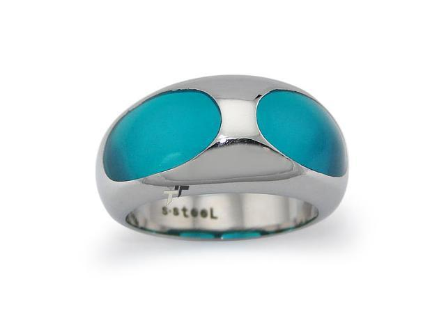 Stainless Steel Ladies Ring w/ Blue Resin Inlay