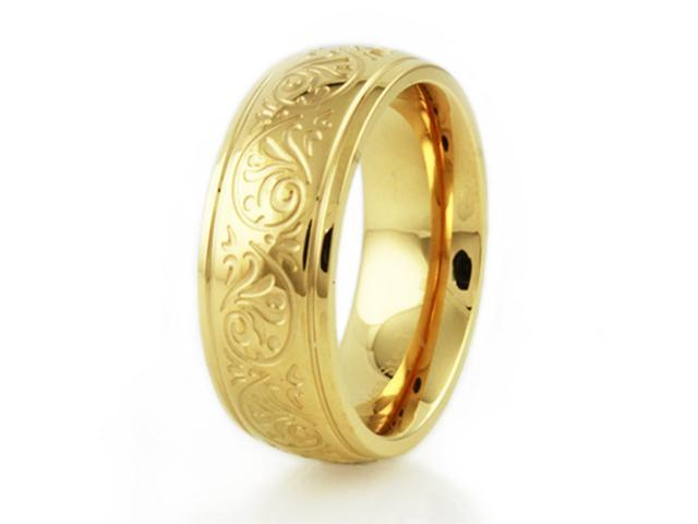 "Stainless Steel Ladies ""Floral Engrave"" Ring"