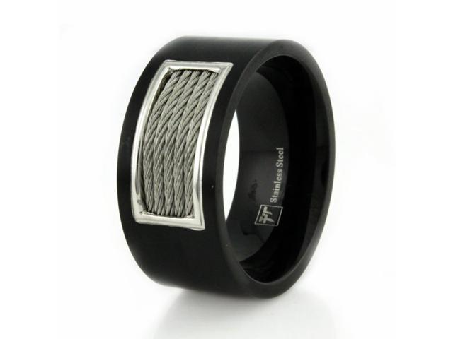 Black Stainless Steel Men's Ring w/ Cable Inlay