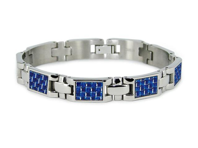Titanium Bracelet with Blue Carbon Fiber