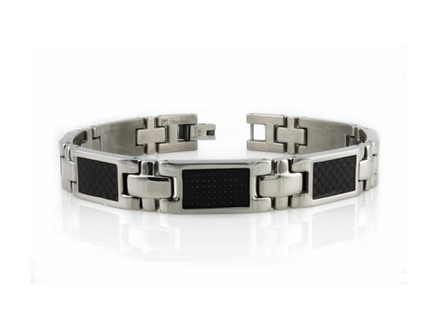 Titanium Bracelet w/ Black Carbon Fiber Inlay
