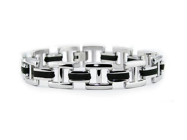 "Tioneer Men's 8.5"" Stainless Steel Biker Bracelet with Rubber Inlay"