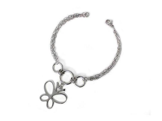 "Stainless Steel ""Butterfly"" Charm Bracelet"