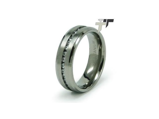 Titanium Cubic Zirconia Wedding Ring