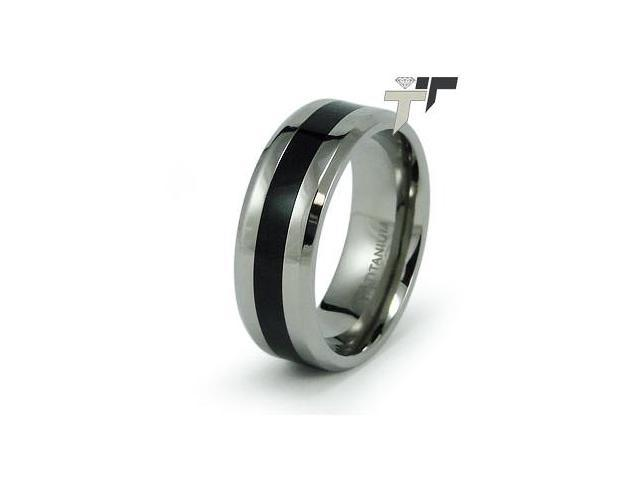 Titanium Ring w/ Black Resin Inlay