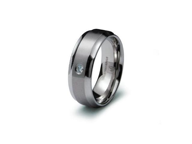 Stainless Steel Mens CZ Solitaire Band