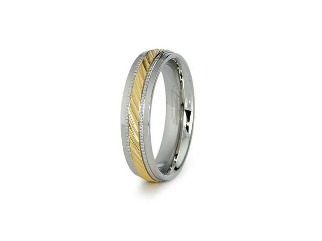 Gold Plated Stainless Steel Ladies Wedding Band 6mm