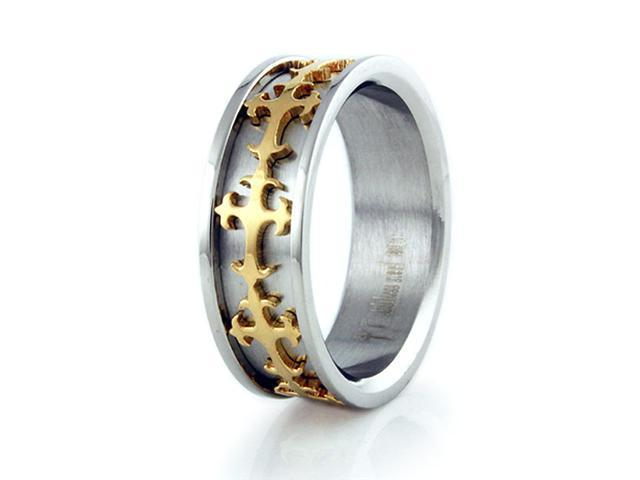 Stainless Steel Men's Ring w/ Gold Plated Cross Design