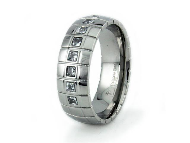 Stainless Steel Men's Groove Ring w/ CZ's