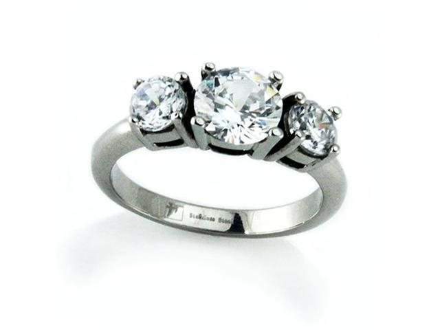 Stainless Steel Solitaire Ring