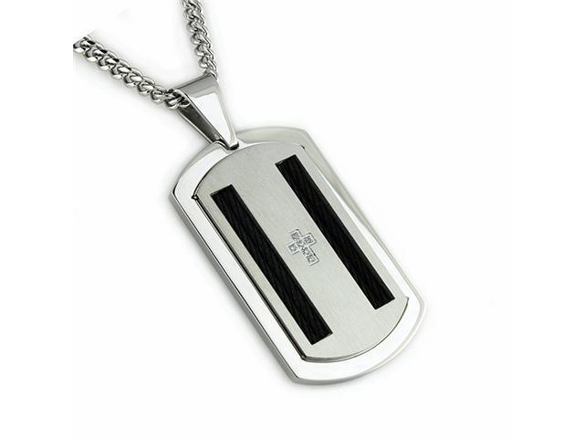 Stainless Steel Men's Dog Tag Pendant w/ CZ