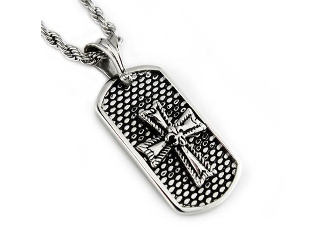 Stainless Steel Men's Dog Tag Pendant w/ Rope Chain