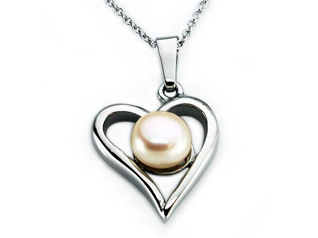 Stainless Steel Heart Pearl Pendant