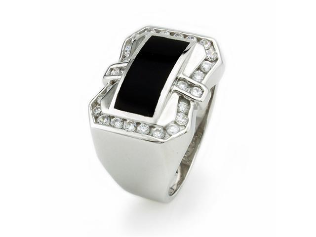 Men's Sterling Silver Ring w/ Black Resin Inlay & CZ