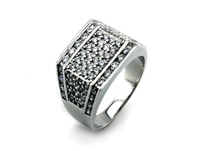 Silver Men's Ring w/ White Diamond CZ