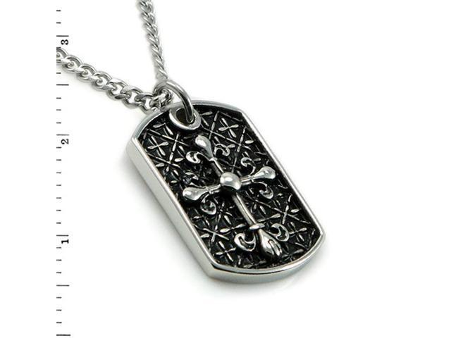 Men's Stainless Steel Templer's Dog Tag Pendant