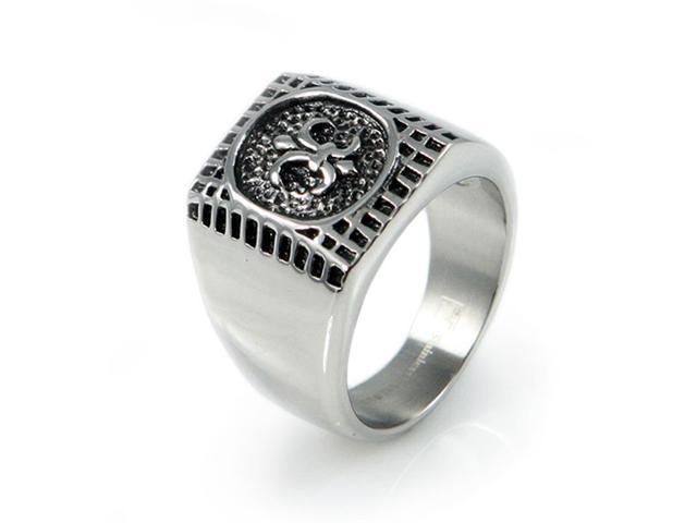 """Stainless Steel Men's """"Fleur De Lis"""" Ring"""