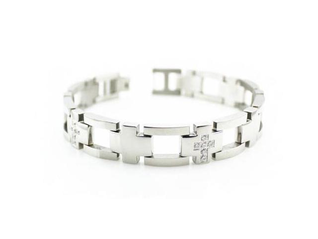 Men's CNC Pave Set Stainless Steel Bracelet 8.5""