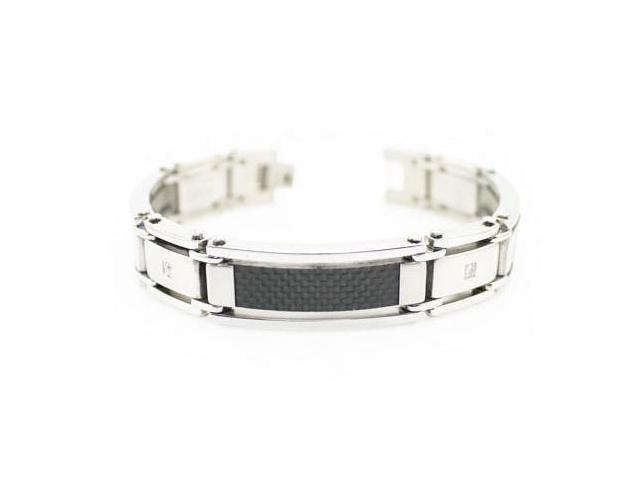 Men's Stainless Steel Bracelet w/ Carbon Fiber Inlay 8.5