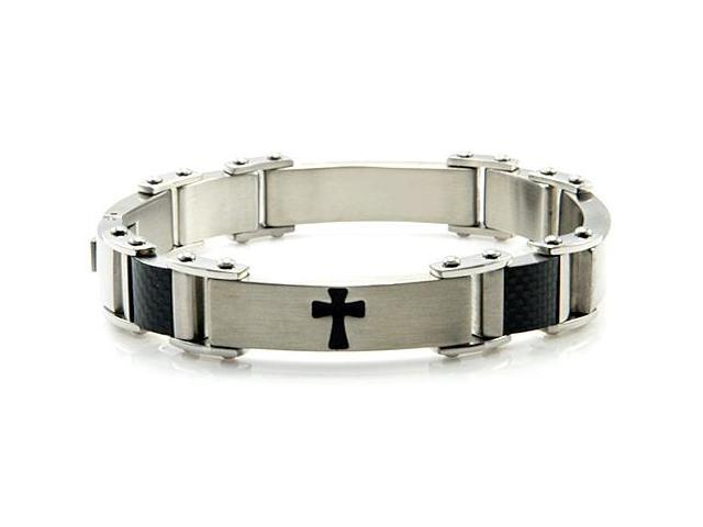 Men's Stainless Steel Bracelet w/ Cross Design 8.75
