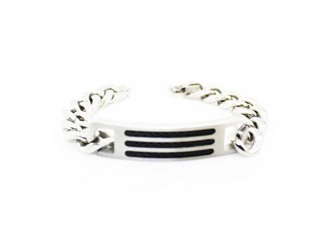 Men's Stainless Steel Curb Chain ID Bracelet 8.75