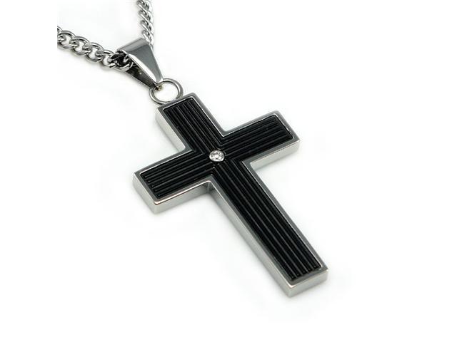 Black Cross Pendant w/ CZ