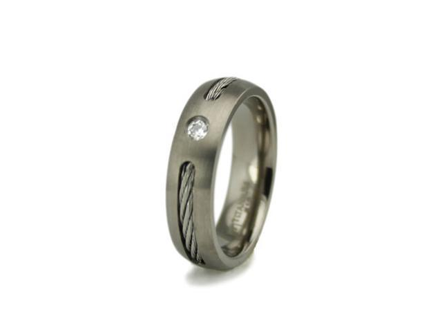 Titanium Ring w/ Cable Inlay & CZ