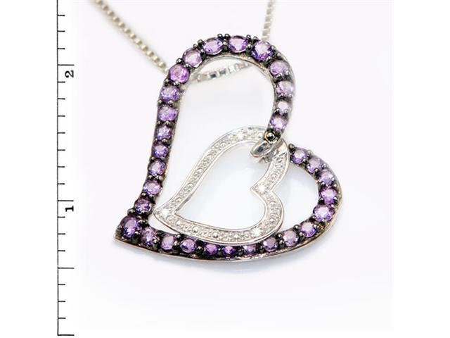 Sterling Silver Double Heart Link Pendant w/ Amethyst & Diamond