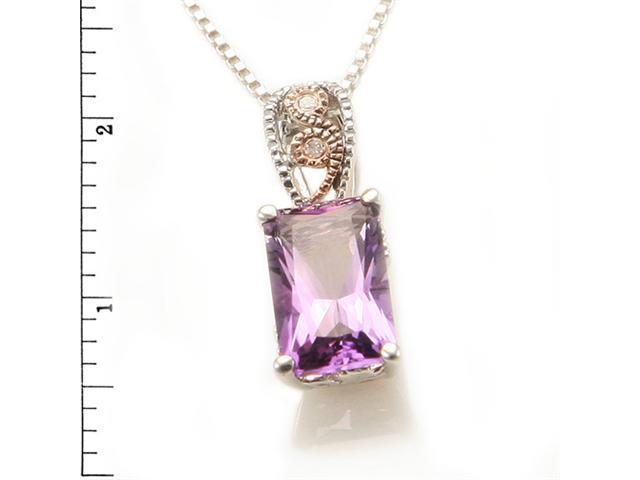 Sterling Silver 14KR Amethyst w/ Diamond Pendant