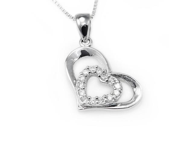 Sterling Silver Heart Pendant w/ Cubic Zirconia