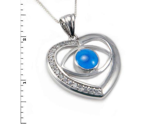 Sterling Silver Evil Eye Pendant w/ Cubic Zirconia