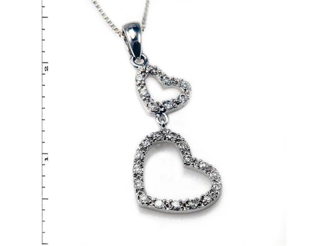Sterling Silver Double Heart Link Pendant w/ Cubic Zirconia