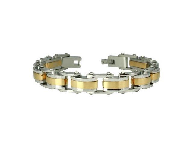 """Two-Tone Stainless Steel Biker Bracelet 8.5"""""""