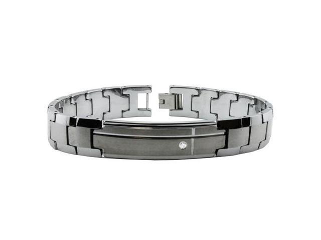Tungsten Carbide ID Bracelet w/ CZ 8.5
