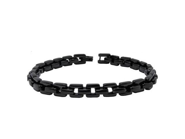 "Black Stainless Steel Marina Link Bracelet 9"""