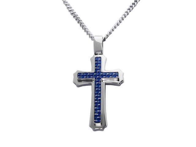 Stainless Steel Cross Pendant w/ Blue Carbon Fiber Inlay