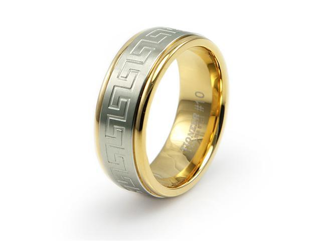 Two-Tone Stainless Steel Ring w/ Greek Design