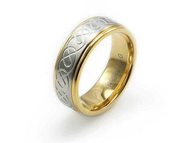 Two-Tone Stainless Steel Ring w/ Tribal Design