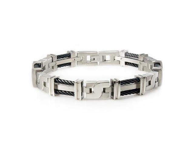 Tioneer Dual Black Cable Titanium Interlink Bracelet
