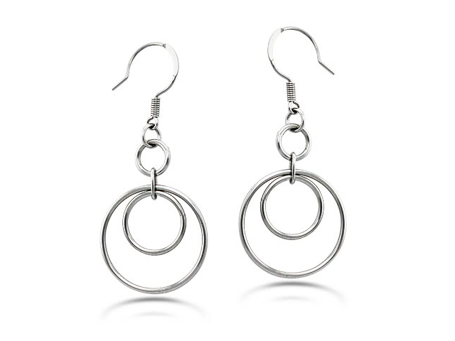 Dangle Hoop Stainless Steel Earrings