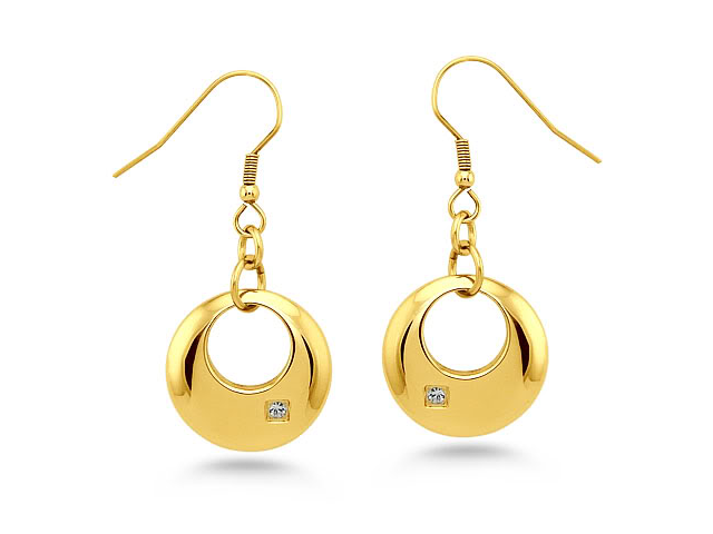 Gold Plated Crescent Stainless Steel Earrings w/ CZ