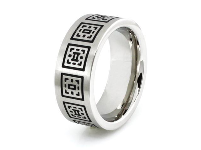 Stainless Steel Ring w/ Greek Pattern Design