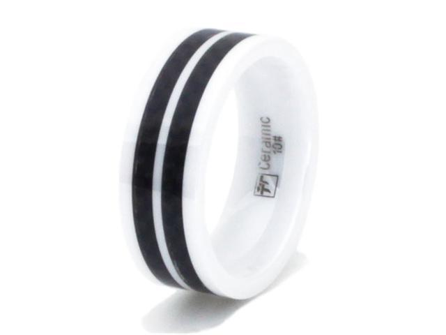White Ceramic Ring w/ Dual Black Carbon Fiber Inlay