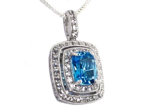 925 Sterling Silver Licensed Swiss Blue Topaz Created White Sapphire Pendant