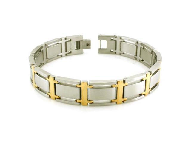 Two-Tone Stainless Steel Link Bracelet 8.5