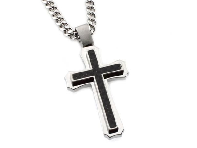Tioneer Stainless Steel Cross Pendant w/ Black Carbon Fiber Inlay