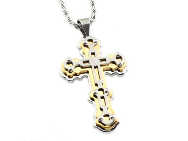 Stainless Steel Two-Tone Tri-Layer Cross Pendant