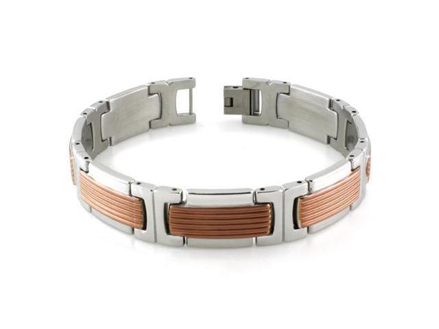 Stainless Steel Two-Tone Grill Pattern Link Bracelet