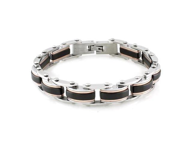 Stainless Steel Tri-Tone Link Bracelet