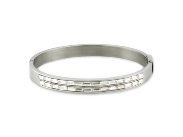 Tioneer B30377 Stainless Steel Oval Bangle w/ Baguette CZ Cut